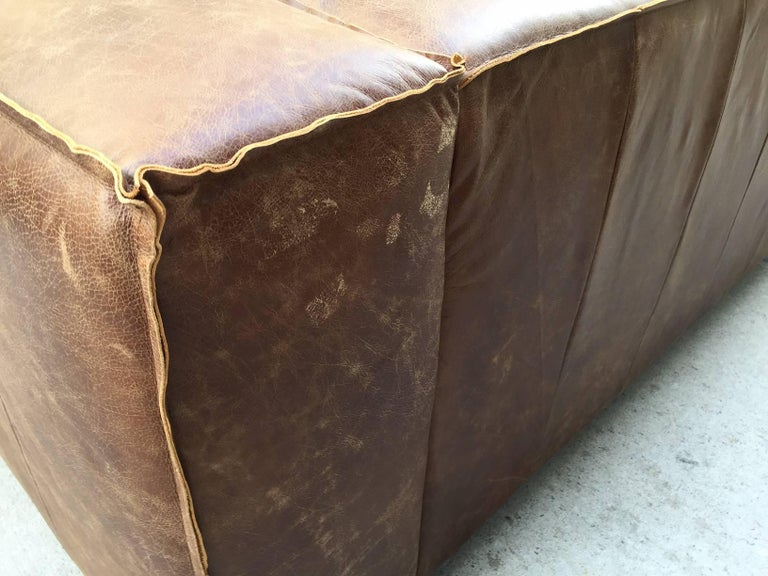 Pair of Contemporary Distressed Leather Sofas For Sale 3