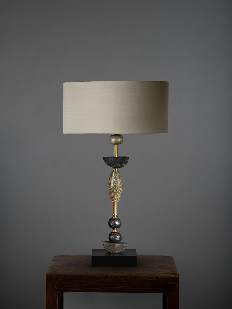 English Pair of Contemporary European Glass Sculptural Table Lamps by Margit Wittig For Sale