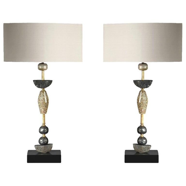 Pair of Contemporary European Glass Sculptural Table Lamps by Margit Wittig For Sale