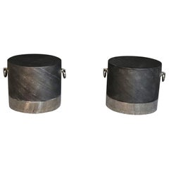 Pair of Contemporary Faux Slate Drum Shaped End Tables