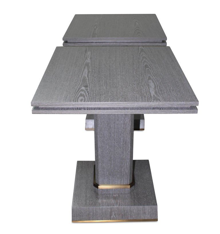 Modern Pair of Contemporary Gray Cerused Oak Occasional Table with Bronze Detailing For Sale