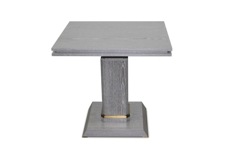 Argentine Pair of Contemporary Gray Cerused Oak Occasional Table with Bronze Detailing For Sale
