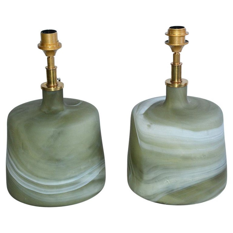 Pair of Contemporary Green Marbleized Glass Lamps with Mat Finish For Sale