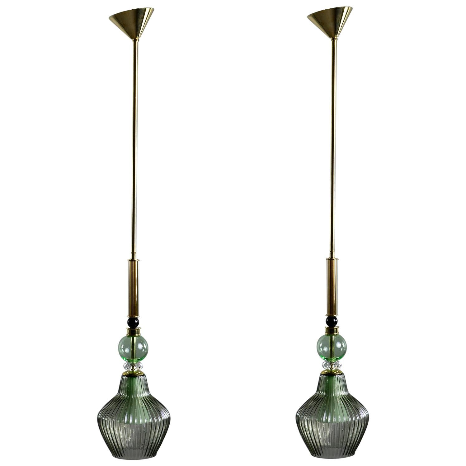 Pair of Contemporary Green Murano Glass Pendant Lights