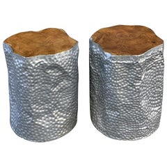 Pair of Contemporary Hammered Aluminium and Wood Side Top Tables