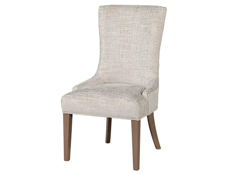 Modern Pair of Contemporary High Back Accent Chairs For Sale