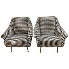 Pair of Contemporary Houndstooth Black and White Lounge Chairs