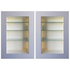 Pair of Contemporary Illuminated Display Cases in Lacquered Wood, Acerbis