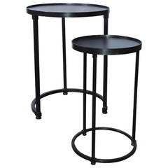 Pair of Contemporary Iron Stacking Round Side Tables