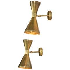 "Pair of Contemporary Italian Wall Lights ""Livia"" in Style of Stilnovo Brass"