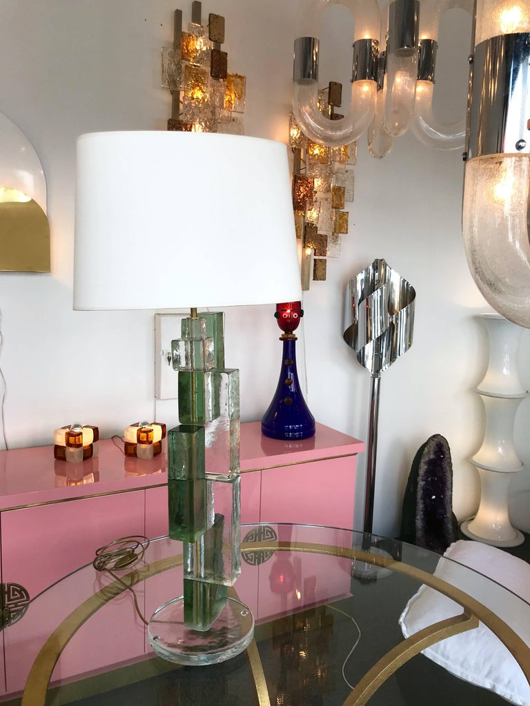 Contemporary Pair of Lamps Cubic Murano Glass and Brass In New Condition For Sale In SAINT-OUEN, FR