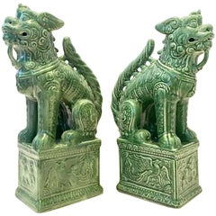 Pair of Contemporary Large Ceramic Glaze Foo Dog Sculptures