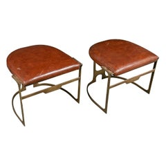 Pair of Contemporary Leather and Patinated Bronze Stools