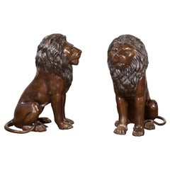 Pair of Contemporary Lost Wax Cast Outdoor Sitting Lions with Dark Bronze Patina