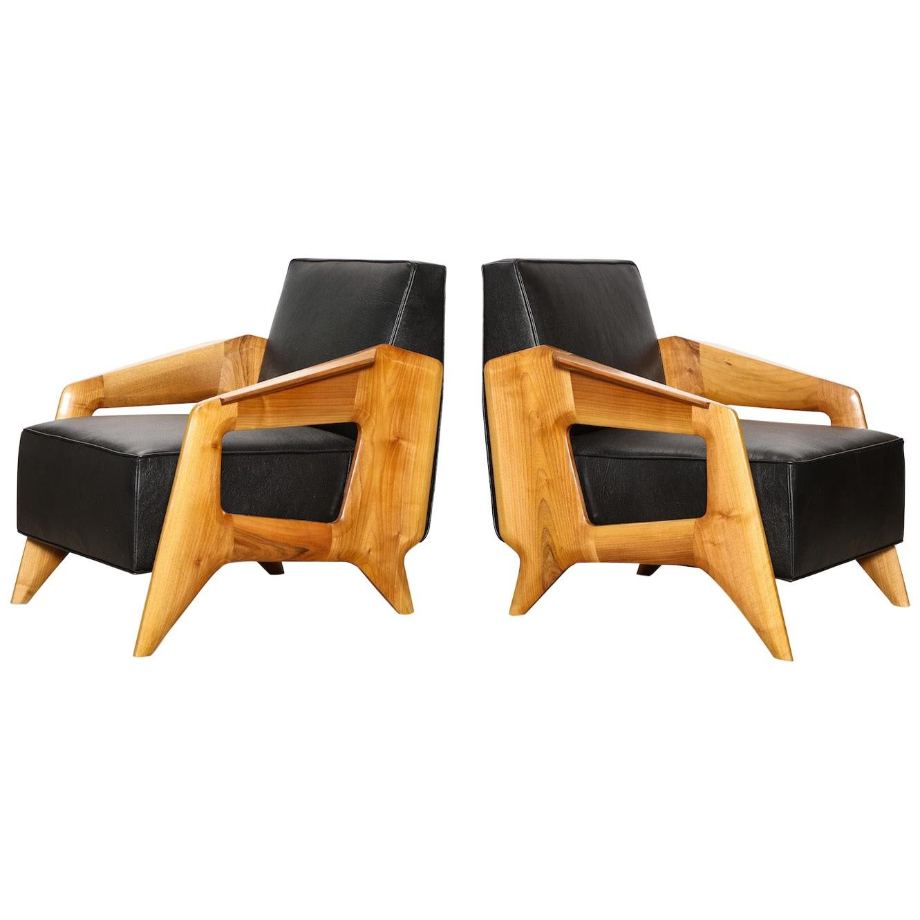 Pair Of Contemporary Lounge Chairs For Sale