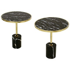 Pair of Contemporary Marquina Marble, Glass, Brass Side Italian Tables