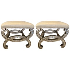 Pair of Contemporary Mirrored Curule Benches