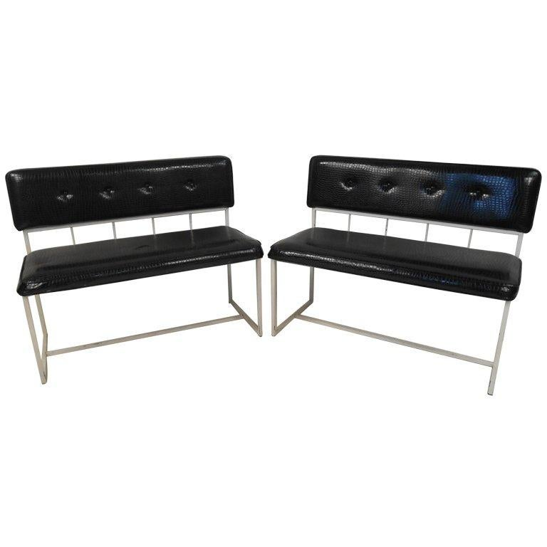 Pair of Contemporary Modern Faux Croocodile Settees For Sale