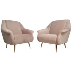 Pair of Contemporary Modern Italian Style Lounge Chairs