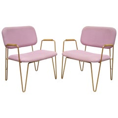 Pair of Contemporary Modern Purple Gold Metal Hairpin Leg Lounge Armchairs