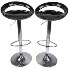 Pair of Contemporary Modern Retro Style Adjustable Bar Stools