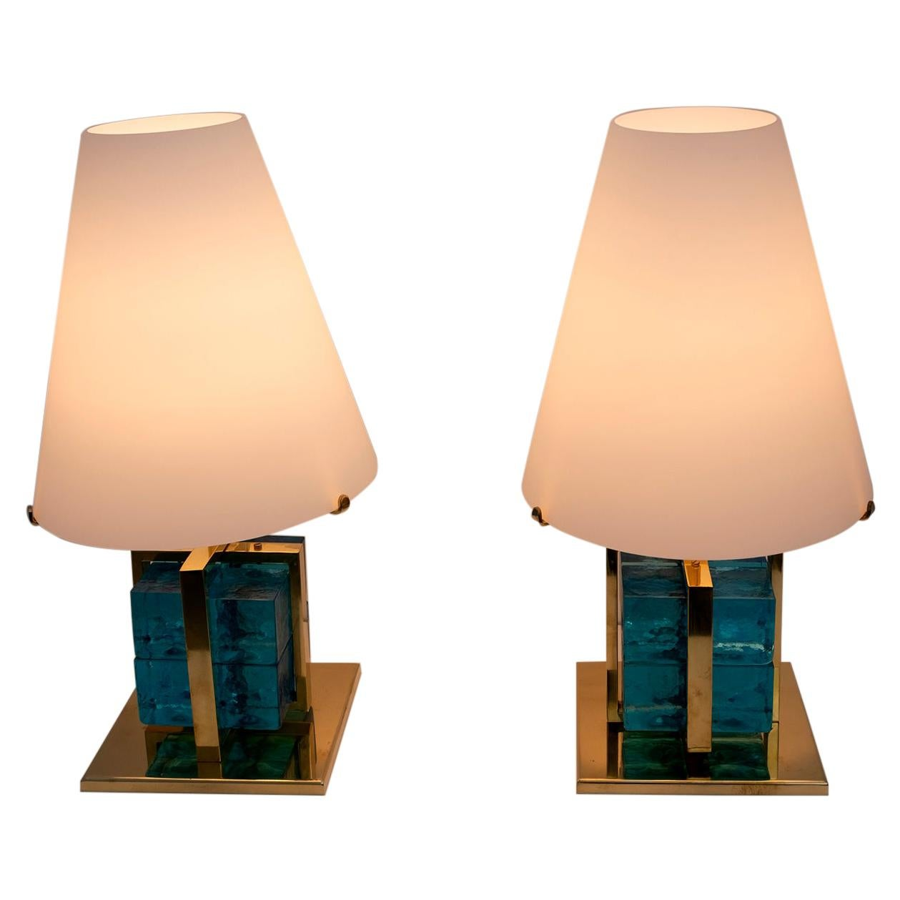 Pair of Contemporary Murano Glass and Brass Table Lamps