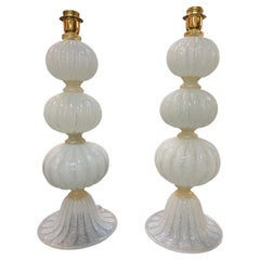 Pair of Contemporary Murano Glass Ball Form Lamps
