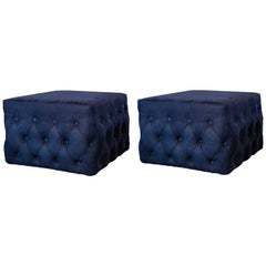 Pair of Contemporary Navy Blue Nubuck Upholstered Ottomans