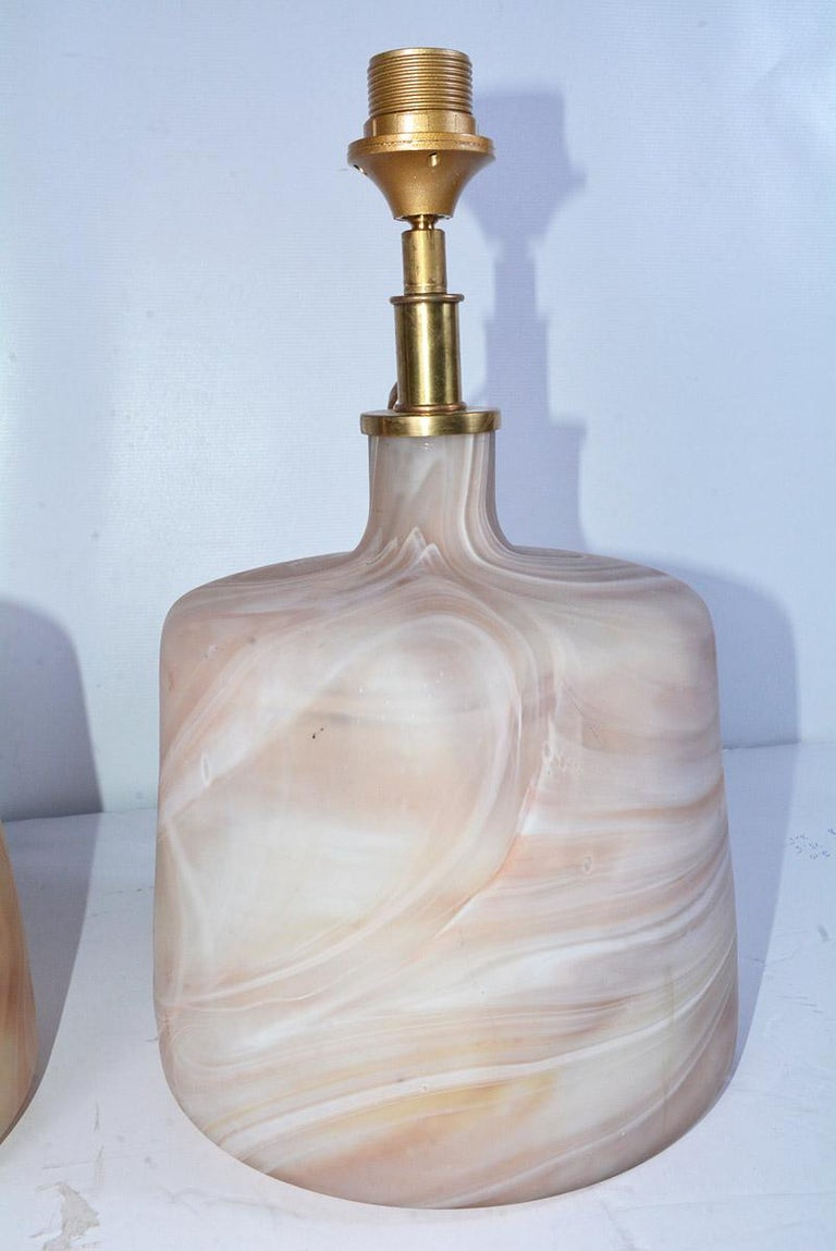 European Pair of Contemporary Pink Marbleized Glass Lamps with Mat Finish For Sale