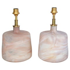 Pair of Contemporary Pink Marbleized Glass Lamps with Mat Finish