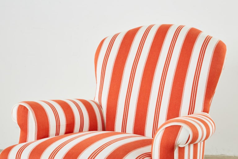 Pair of Contemporary Rolled Arm Striped Lounge Chairs For Sale 4