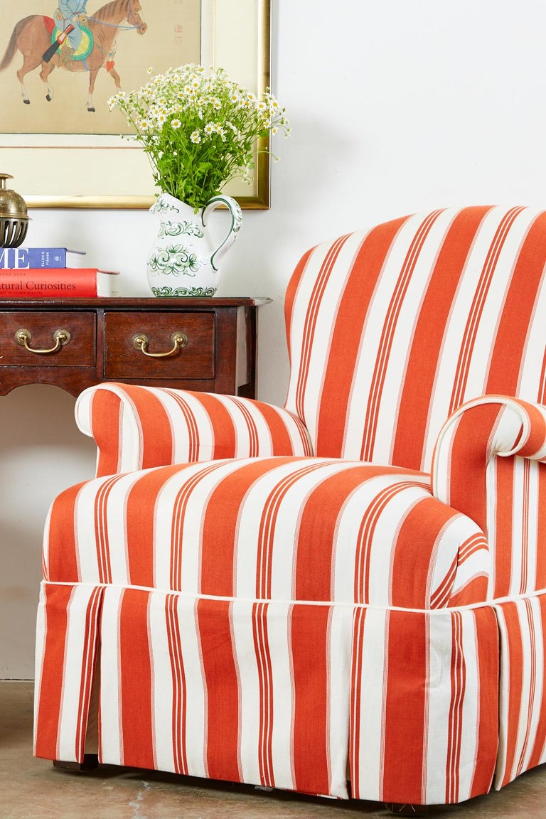 Pair of Contemporary Rolled Arm Striped Lounge Chairs For Sale 5