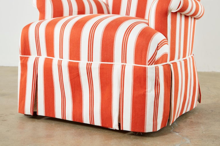 Pair of Contemporary Rolled Arm Striped Lounge Chairs For Sale 6