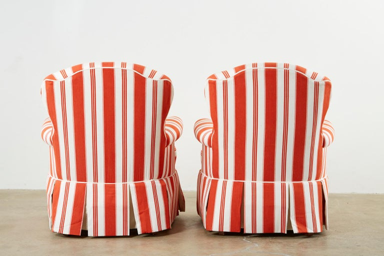 Pair of Contemporary Rolled Arm Striped Lounge Chairs For Sale 12
