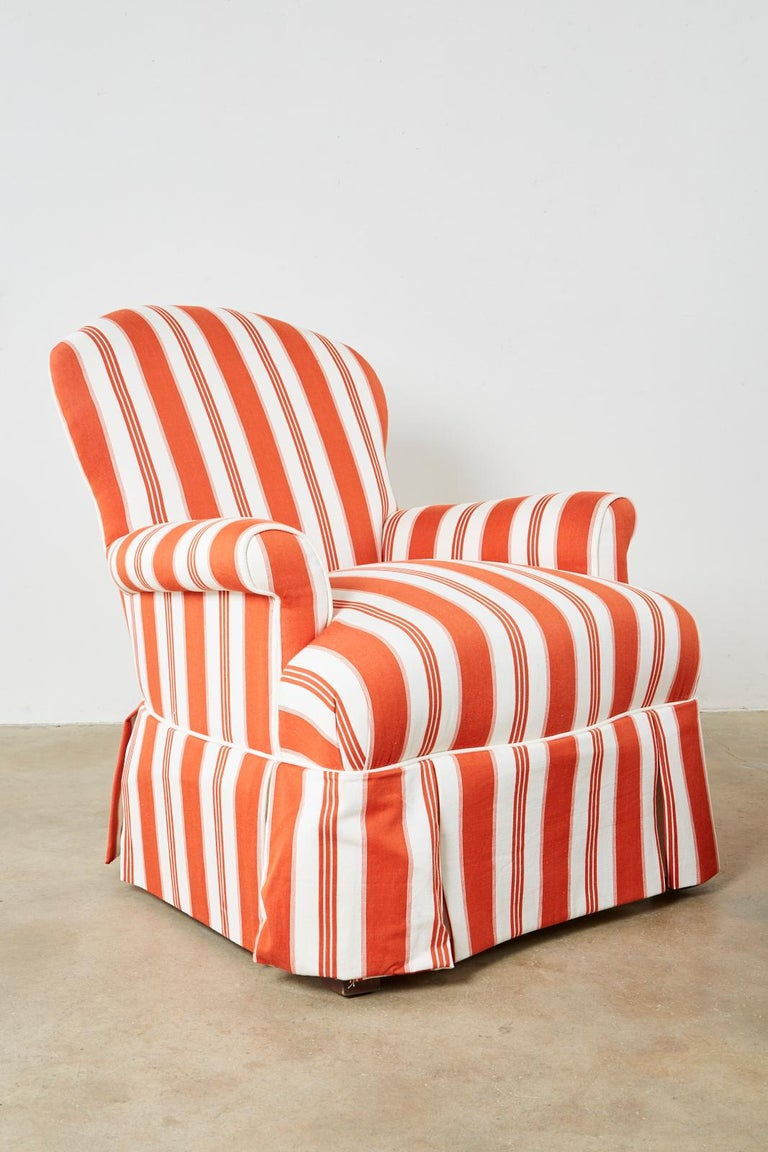 Modern Pair of Contemporary Rolled Arm Striped Lounge Chairs For Sale