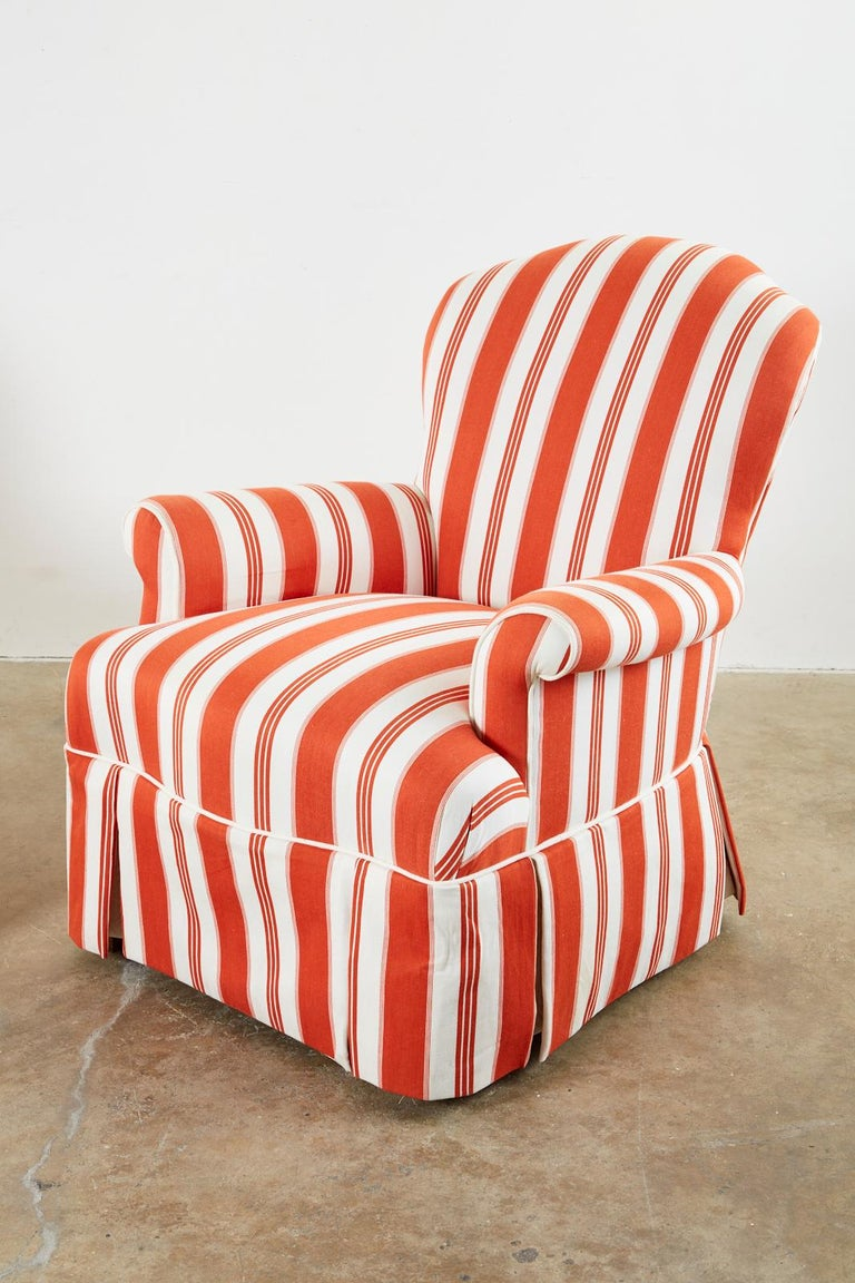 American Pair of Contemporary Rolled Arm Striped Lounge Chairs For Sale