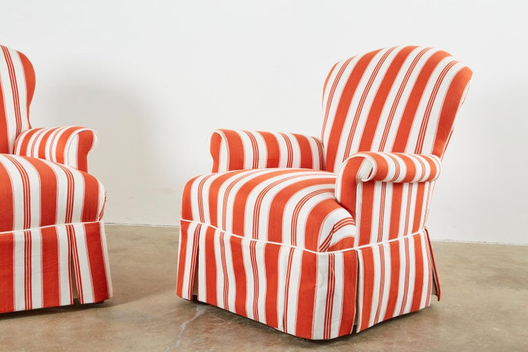 Pair of Contemporary Rolled Arm Striped Lounge Chairs In Excellent Condition For Sale In Rio Vista, CA