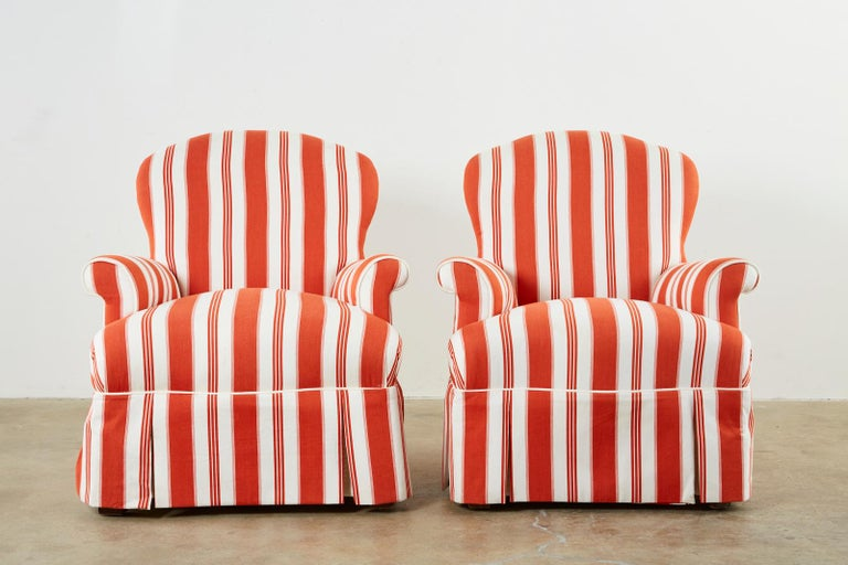 Fabric Pair of Contemporary Rolled Arm Striped Lounge Chairs For Sale