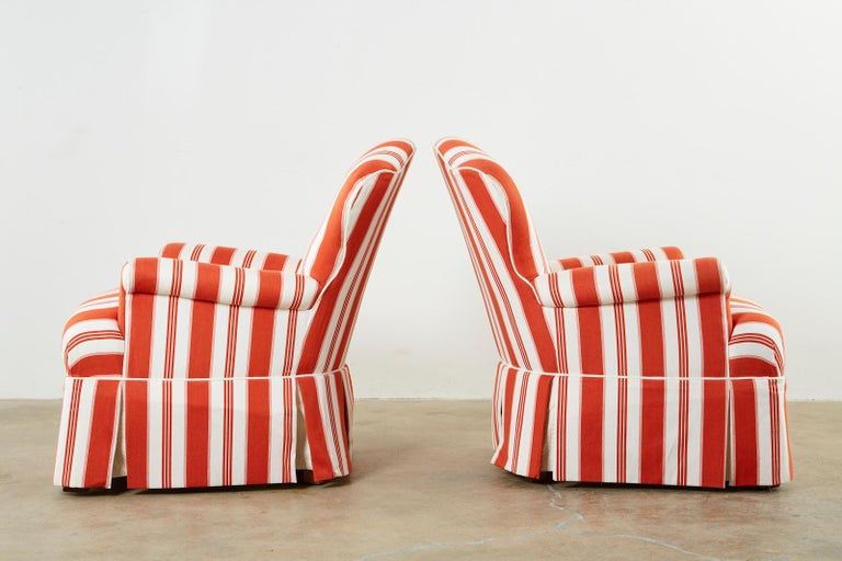 Pair of Contemporary Rolled Arm Striped Lounge Chairs For Sale 2