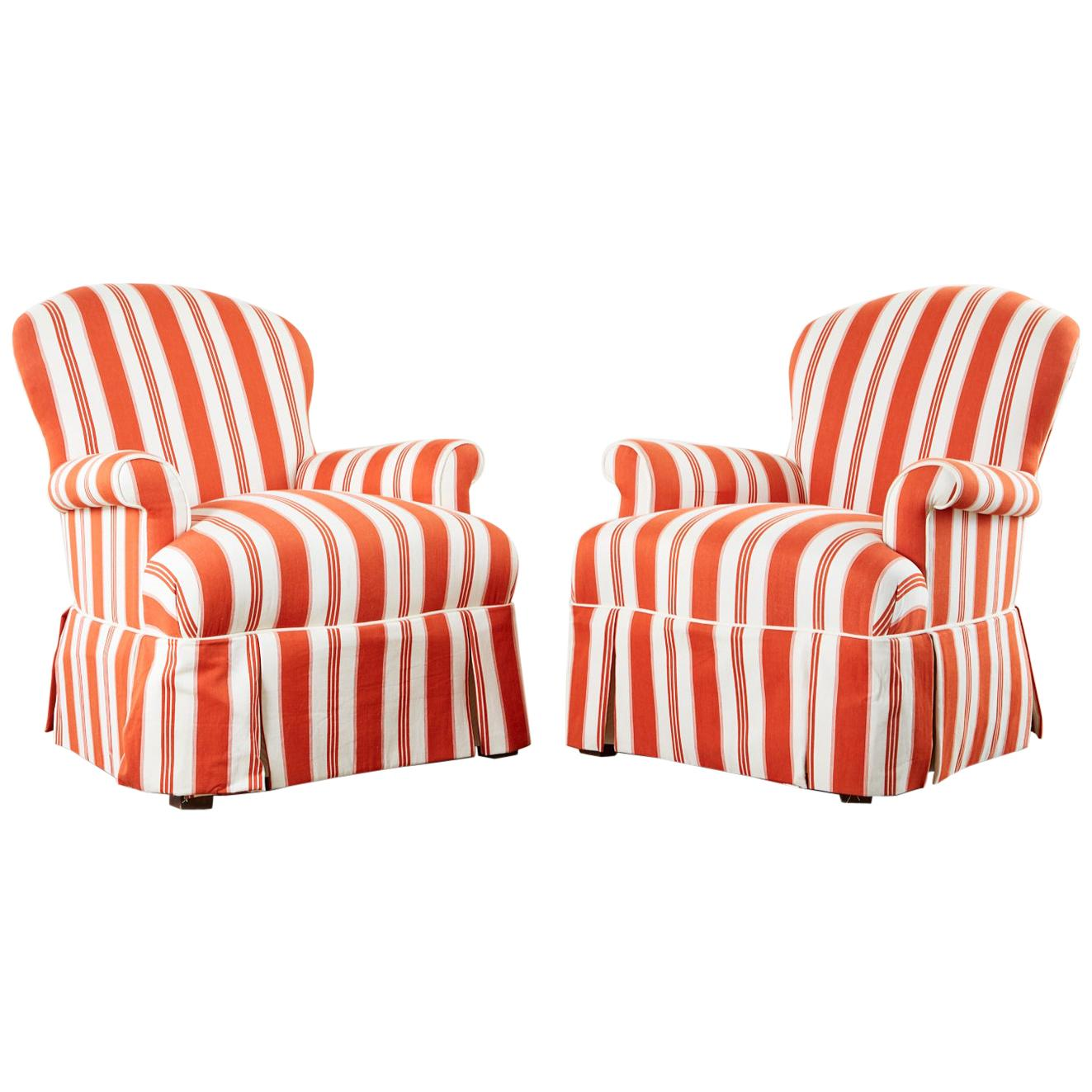 Pair of Contemporary Rolled Arm Striped Lounge Chairs