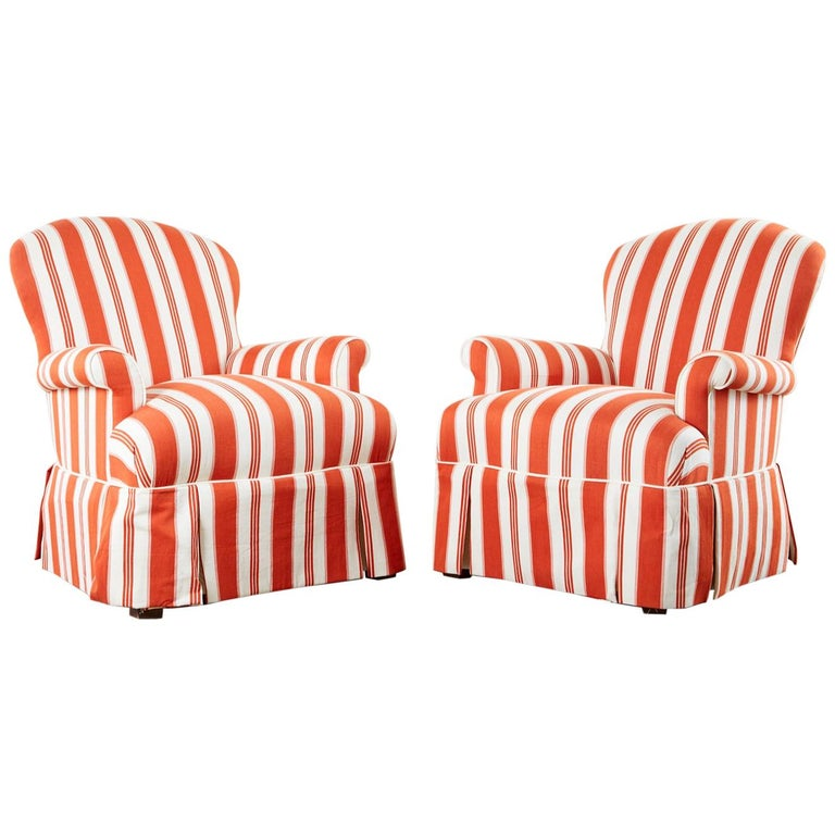 Pair of Contemporary Rolled Arm Striped Lounge Chairs For Sale