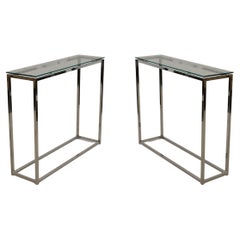 Pair of Contemporary Silver Metal and Glass Narrow Console Tables