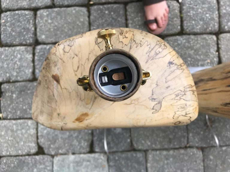 Pair of Contemporary Spalted Wooden Lamps on Custom Lucite Bases For Sale 7