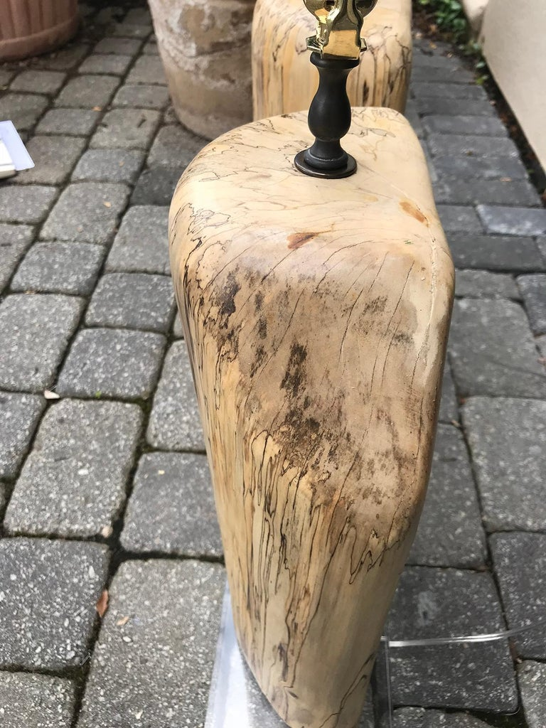 Pair of Contemporary Spalted Wooden Lamps on Custom Lucite Bases For Sale 8