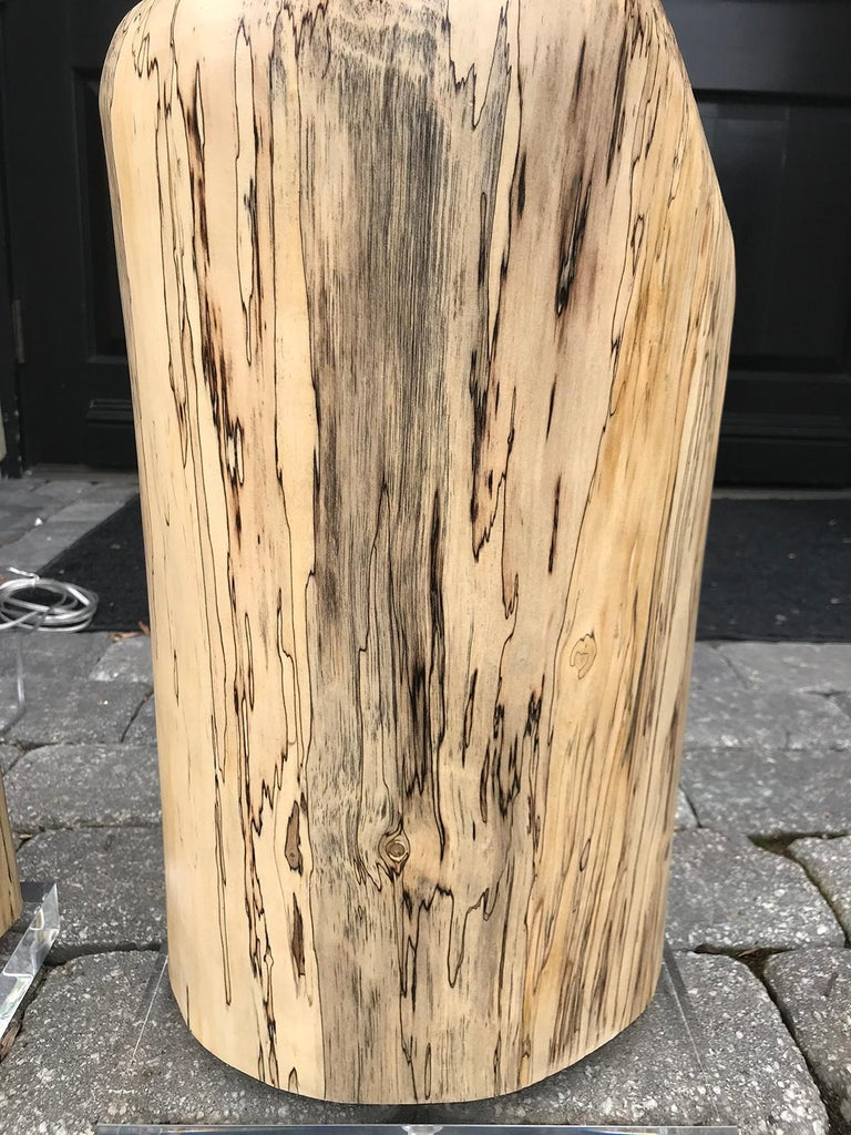 Pair of Contemporary Spalted Wooden Lamps on Custom Lucite Bases For Sale 1