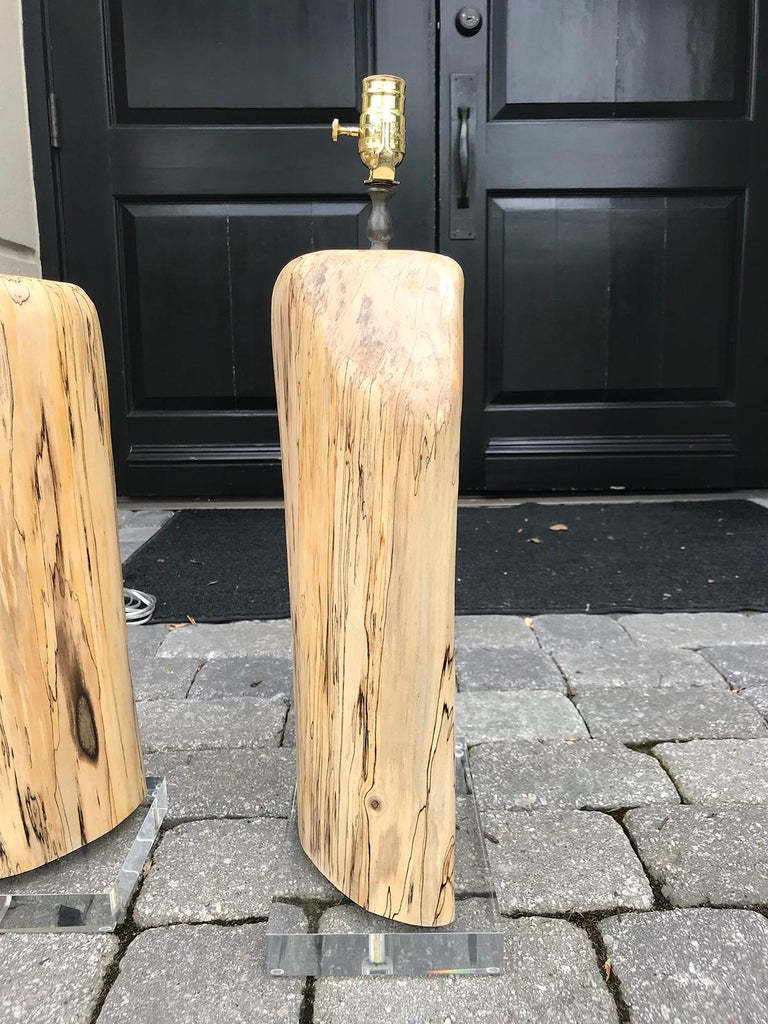 Pair of Contemporary Spalted Wooden Lamps on Custom Lucite Bases For Sale 4