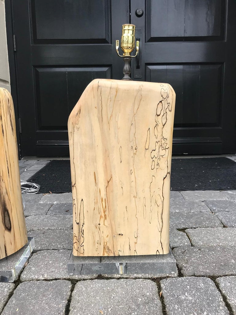 Pair of Contemporary Spalted Wooden Lamps on Custom Lucite Bases For Sale 5