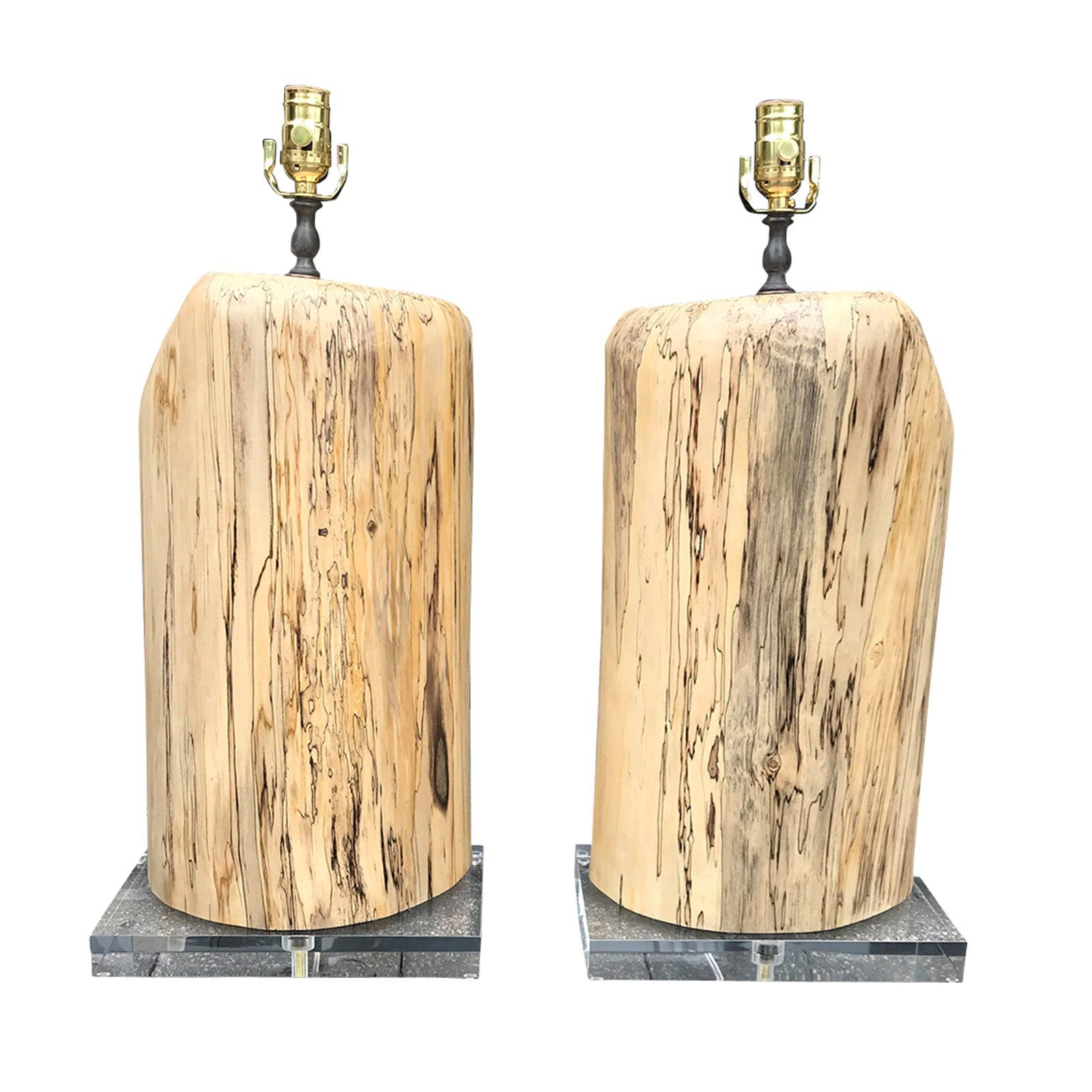 Pair of Contemporary Spalted Wooden Lamps on Custom Lucite Bases