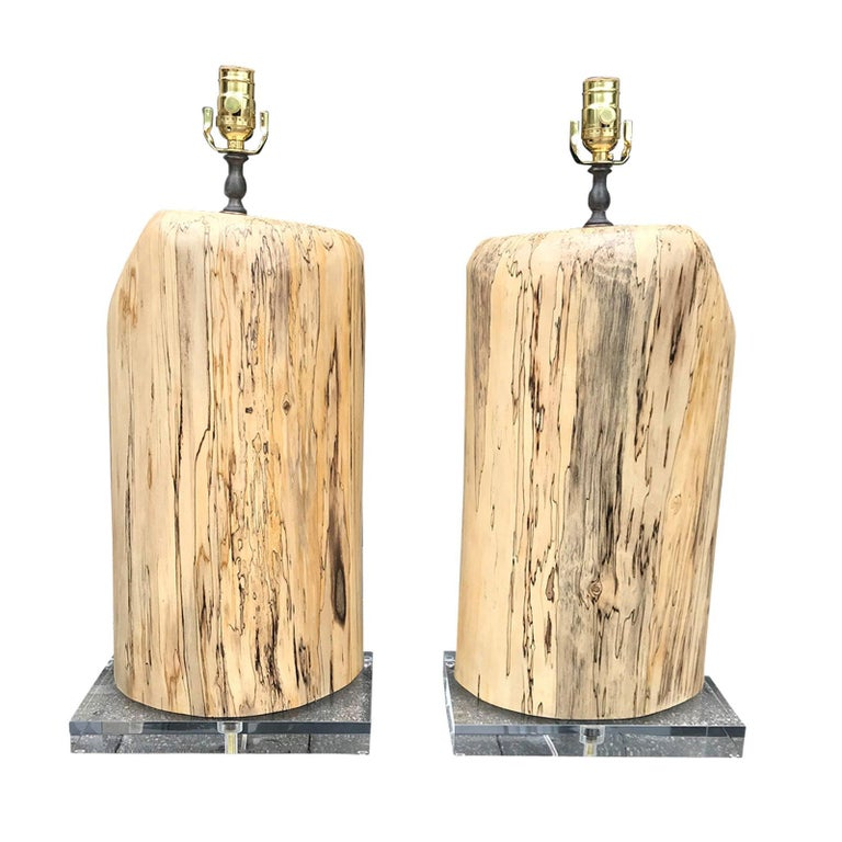 Pair of Contemporary Spalted Wooden Lamps on Custom Lucite Bases For Sale