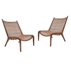 Pair of Contemporary Teak and Leather Chairs, 2018